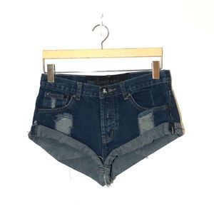 ONE TEASPOON Distressed Jean Shorts Size 24